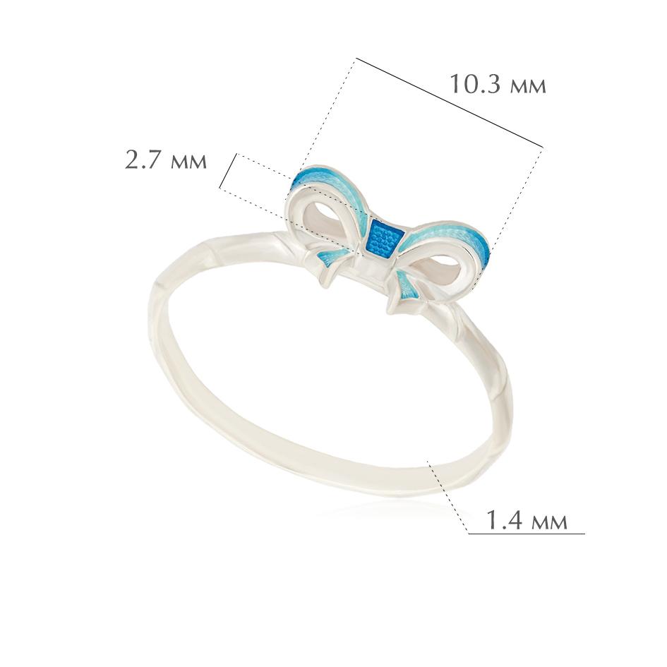 bant 3 - Кольцо из серебра «Бантик», голубое