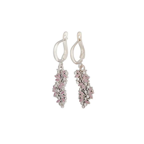 3 53 1 1s 5 600x600 - Серьги-подвески серебряные «Росинка», розовые
