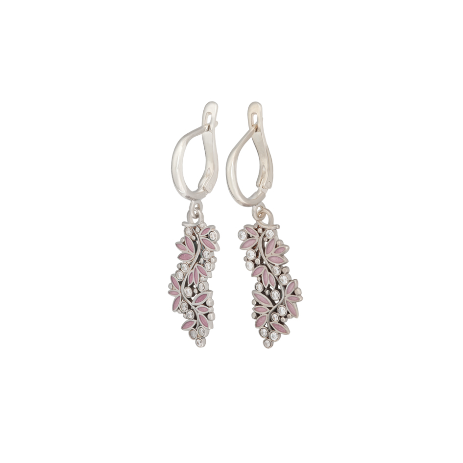 3 53 1 1s 5 - Серьги-подвески серебряные «Росинка», розовые