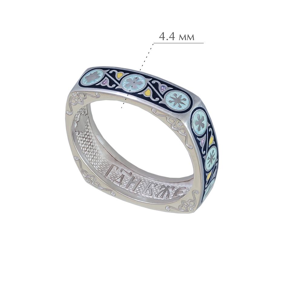 61.122 - Кольцо из серебра квадратное «Спас-на-крови», синяя