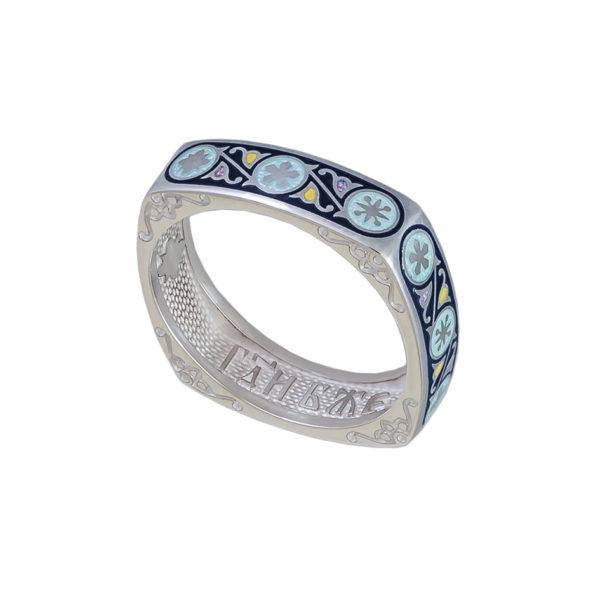 61 122 1s 1 600x600 - Кольцо серебряное квадратное «Спас-на-крови», синяя