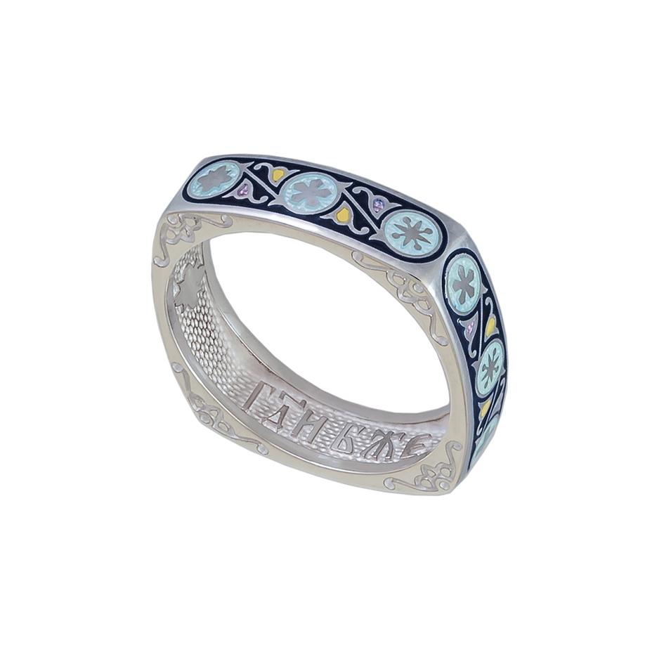 61 122 1s 1 - Кольцо из серебра квадратное «Спас-на-крови», синяя
