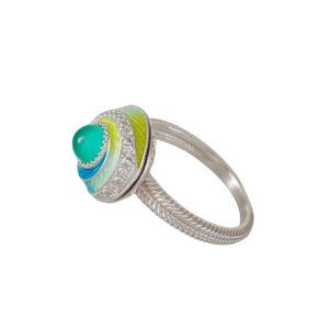 61 146 1s 1 300x300 - Перстень-спинер серебряный «Спираль», бирюзовый с фианитами