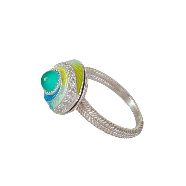 61 146 1s 1 600x600 - Перстень-спинер серебряный «Спираль», бирюзовый с фианитами