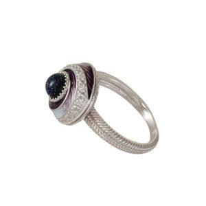 61 146 3s 1 300x300 - Перстень-спинер серебряный «Спираль», фиолетовый с фианитами