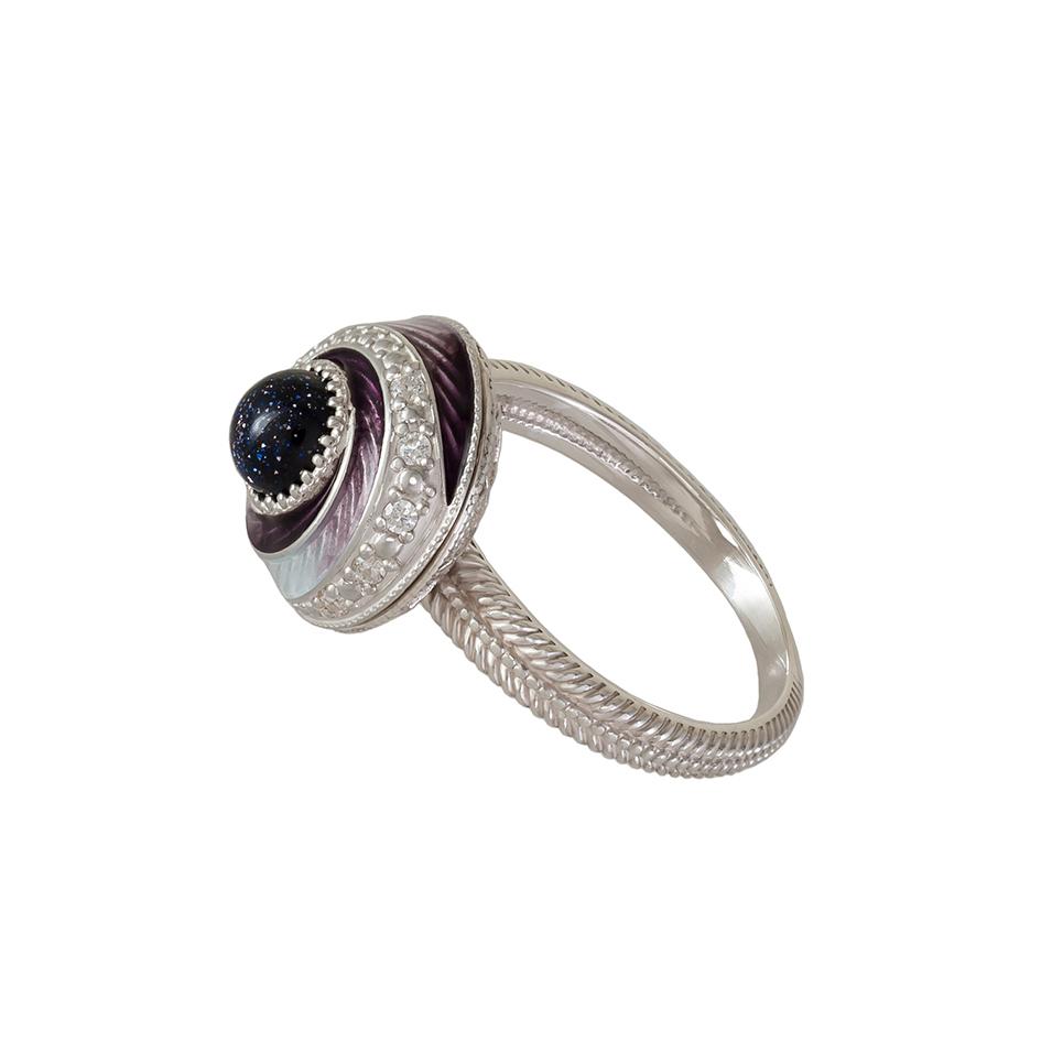 """61 146 3s 1 - Перстень-спинер серебряный """"Спираль"""", фиолетовый с фианитами"""