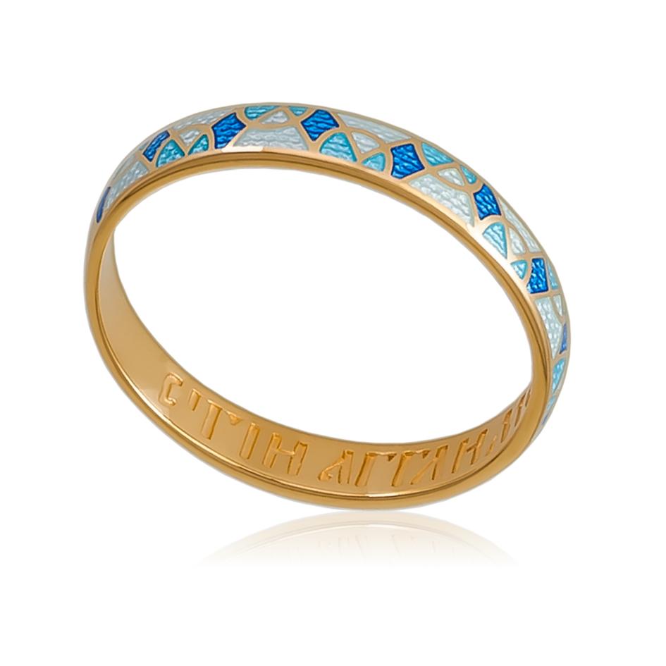 6 30 1z - Кольцо «Седмица» (золочение), голубое