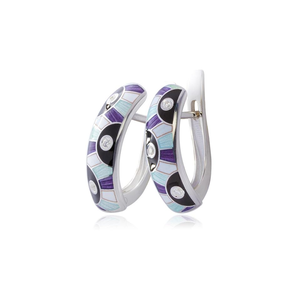 erte fiol - Серьги-полукольца серебряные «Эрте», фиолетовые