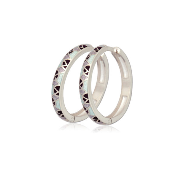 3 30 fioletovo belye 600x600 - Серьги серебряные «Седмица», фиолетово-белые