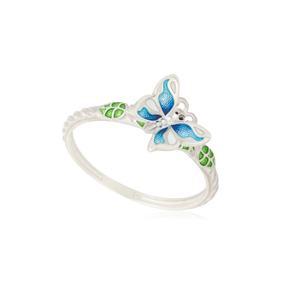 61 202 1s 1 - Кольцо серебряное «Бабочка», голубое