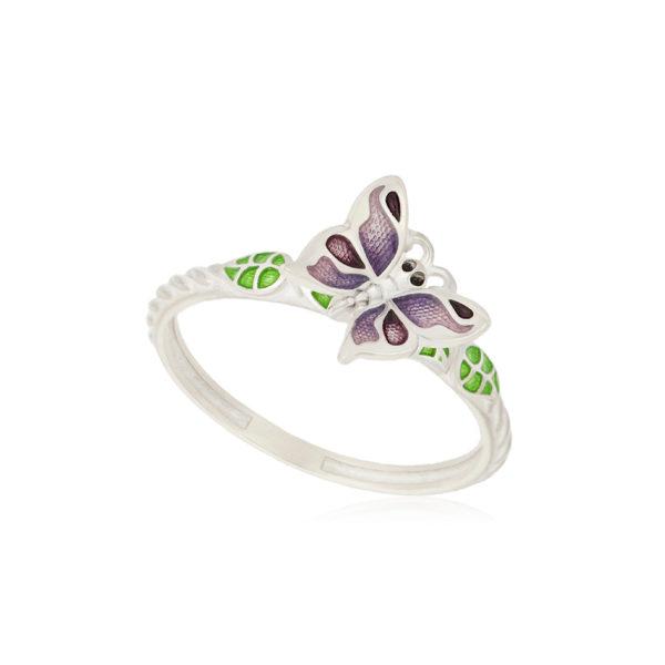 61 202 3s 1 600x600 - Кольцо из серебра «Бабочка», фиолетовое