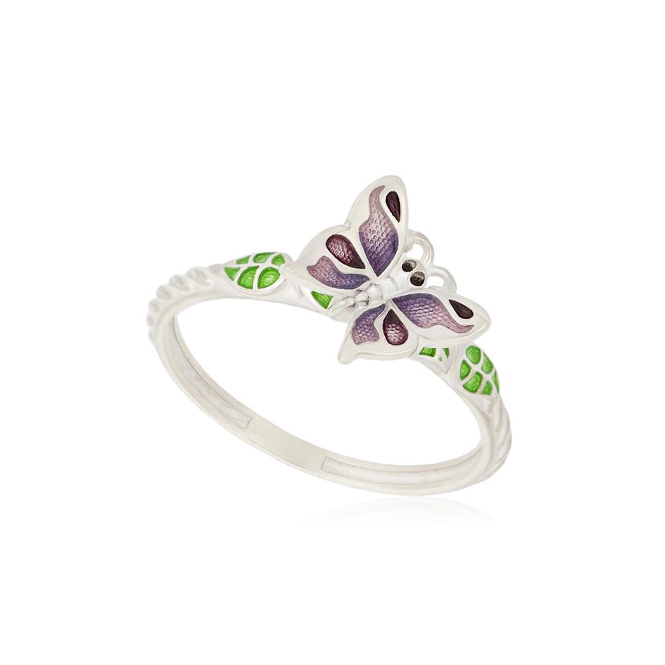 61 202 3s 1 - Кольцо серебряное «Бабочка», фиолетовое
