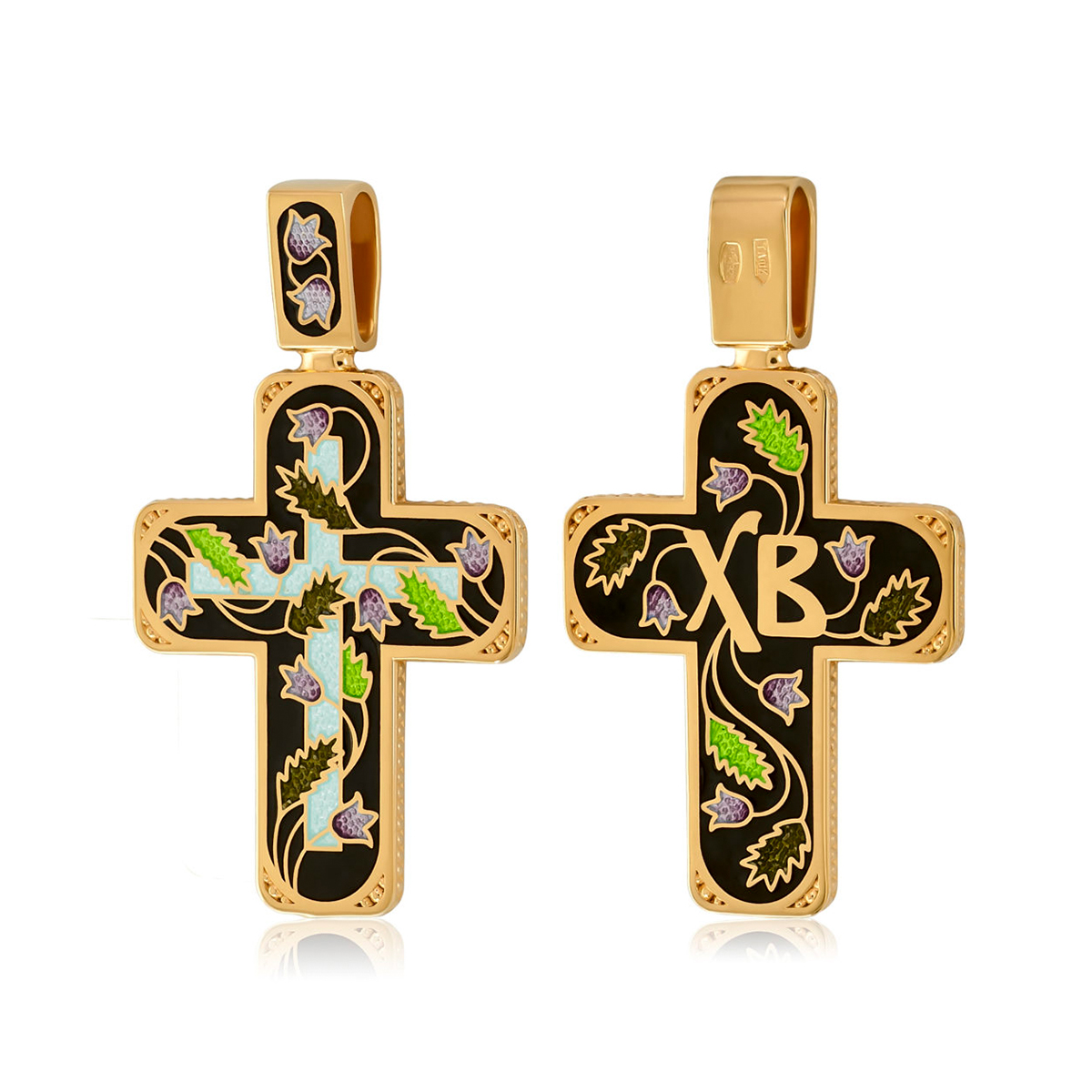 81 124 2 1200x1200 1 - Нательный крест из серебра «Спас на крови» (золочение), черный