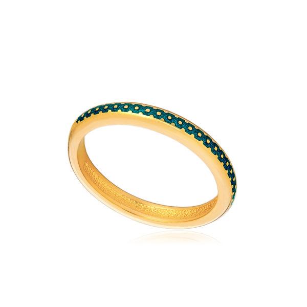 61 154 1z 1 1 600x600 - Кольцо из серебра «Принцесса на горошине» (золочение), морская волна