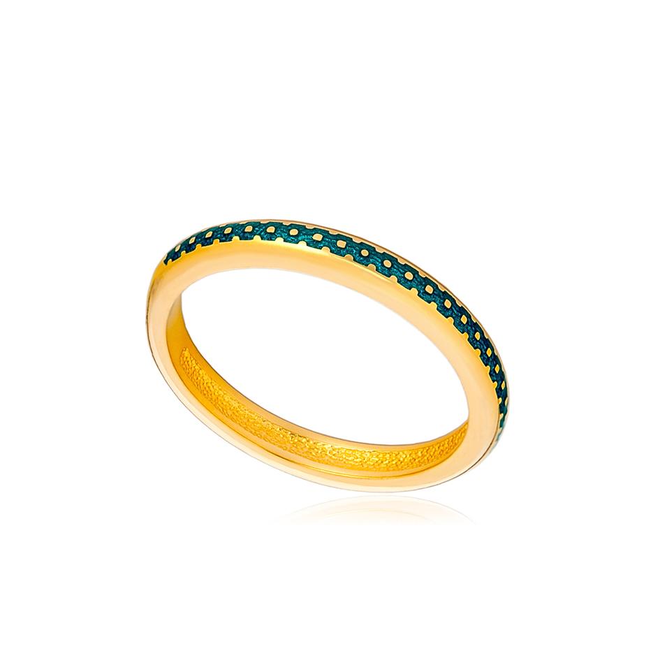 61 154 1z 1 - Кольцо «Принцесса на горошине» (золочение), морская волна