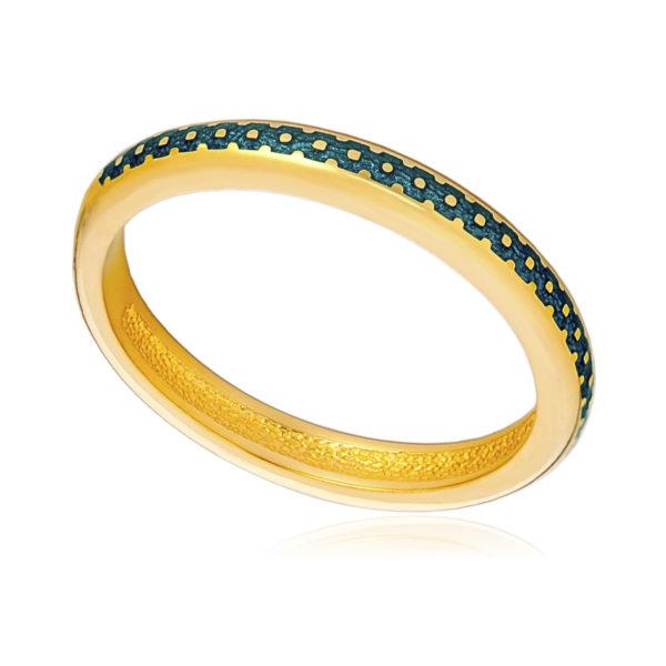 61 154 1z 600x600 - Кольцо «Принцесса на горошине» (золочение), морская волна