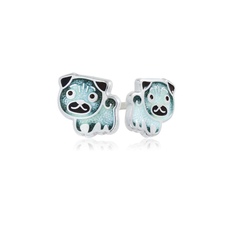 31 217 1s - Пуссеты серебряные «Мопс», синие