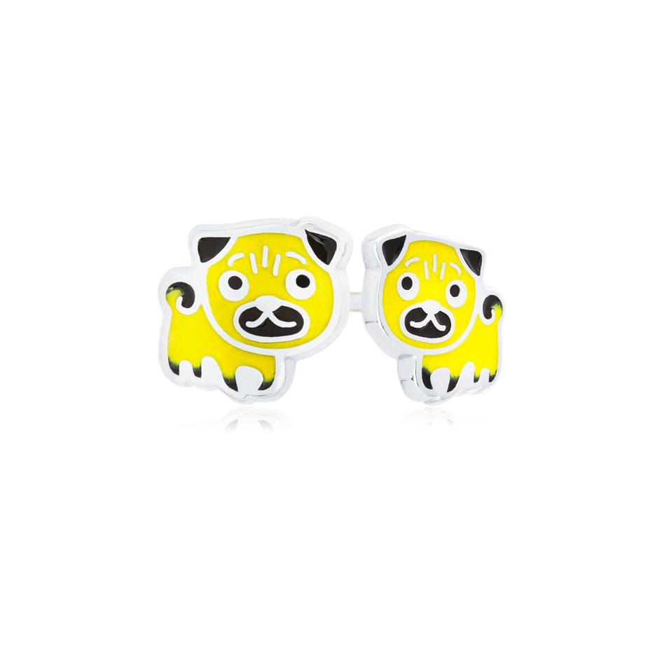 31 217 2s - Пуссеты из серебра «Мопс», желтые