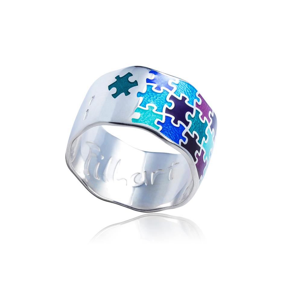 61 116 1s - Кольцо из серебра «Пазлы», трехцветное