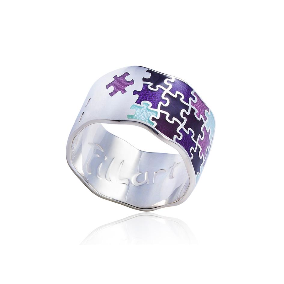 61 116 2s 7 - Кольцо из серебра «Пазлы», фиолетовое