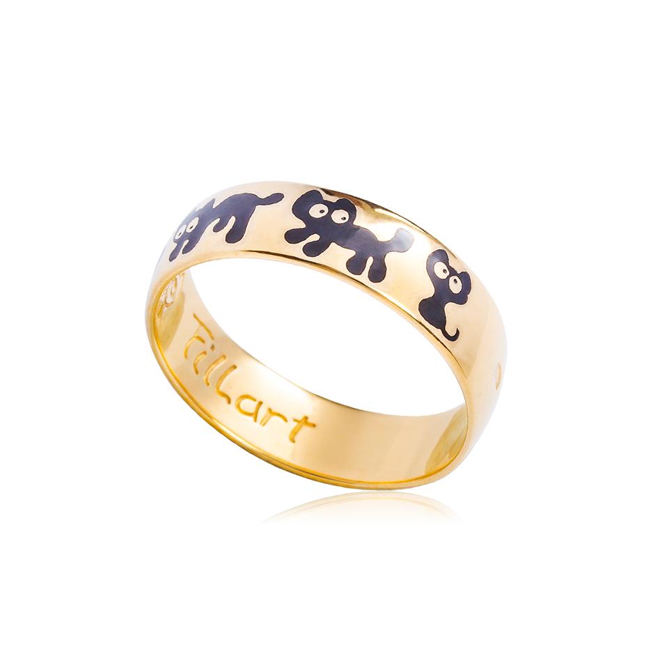 6 45 1 - Кольцо из серебра «Забавные котята» (золочение), черное
