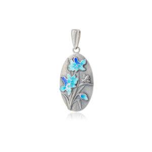 7 18 1s 300x300 - Подвеска из серебра «Лилия», голубая