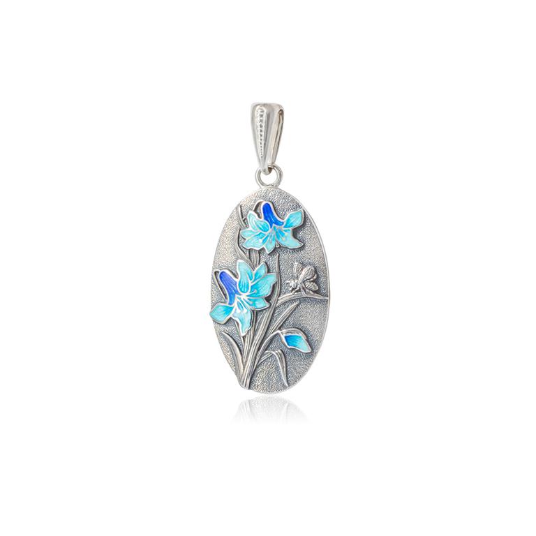 7 18 1s - Подвеска из серебра «Лилия», голубая