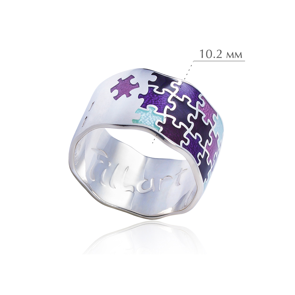 kolcza pazly 1 - Кольцо из серебра «Пазлы», фиолетовое