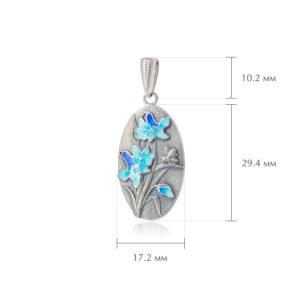 liliya golubaya razmery 300x300 - Подвеска из серебра «Лилия», голубая
