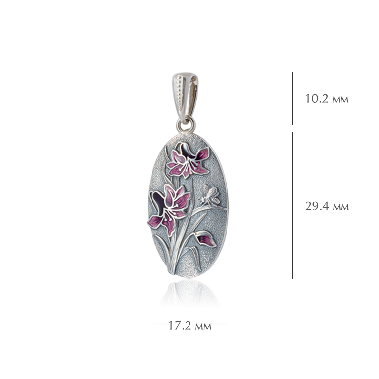 liliya rozovaya razmery - Серебряная подвеска «Лилия», фиолетовая