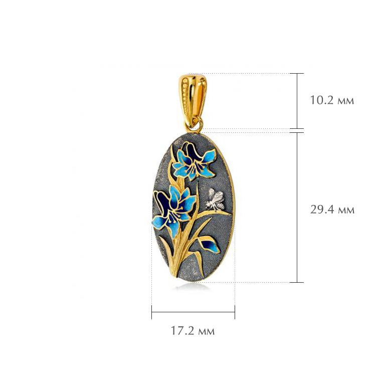 liliya zolochenie golubaya razmery - Подвеска из серебра «Лилия» (золочение), голубая