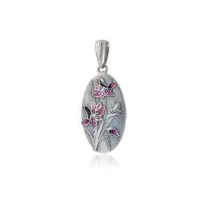 p1 1 300x300 - Серебряная подвеска «Лилия», фиолетовая