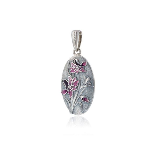 p1 1 600x600 - Серебряная подвеска «Лилия», фиолетовая