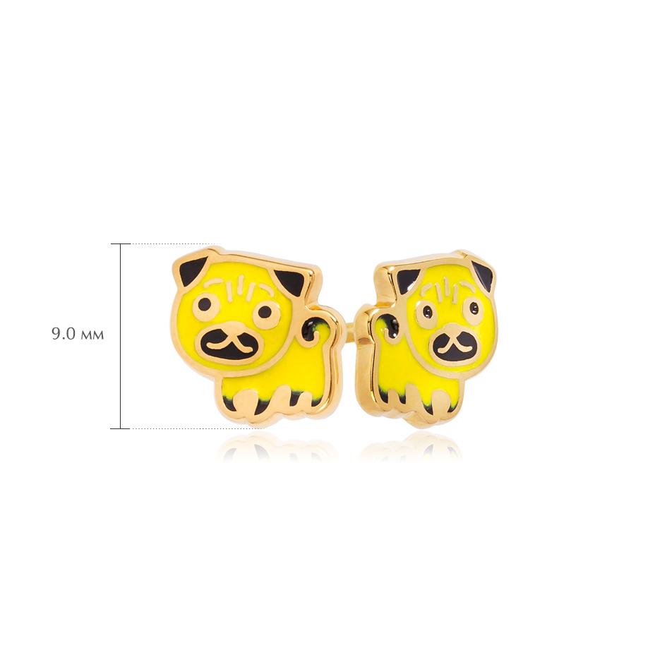 pussety mops 4 - Пуссеты из серебра «Мопс» (золочение), желтые