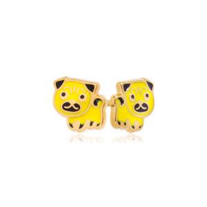 pussety poms zheltyj 300x300 - Пуссеты из серебра «Мопс» (золочение), желтые