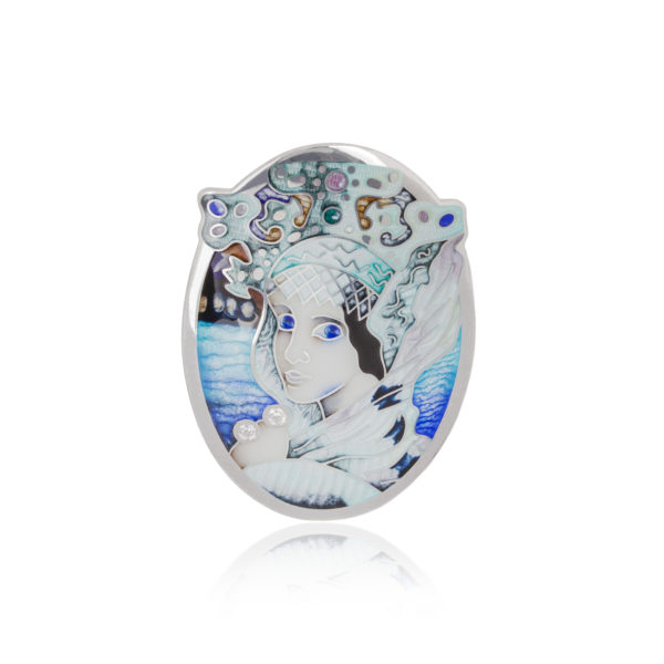 2 1 600x600 - Подвеска-брошь из серебра «Царевна Лебедь» с фианитами