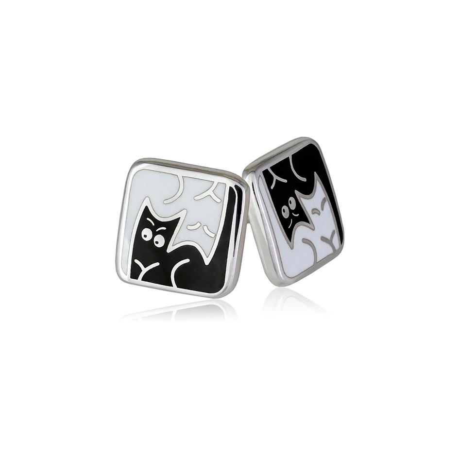 3 59 2s 1 - Пуссеты из серебра «Котики Инь-Ян», черно-белые
