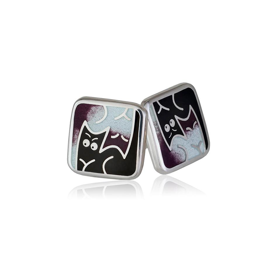 3 59 3s 1 - Пуссеты из серебра «Котики Инь-Ян», фиолетовые