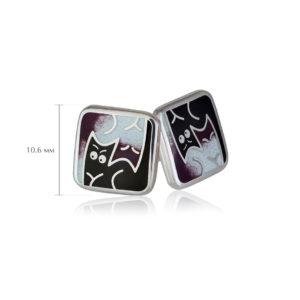 kotiki 6 300x300 - Пуссеты из серебра «Котики Инь-Ян», фиолетовые