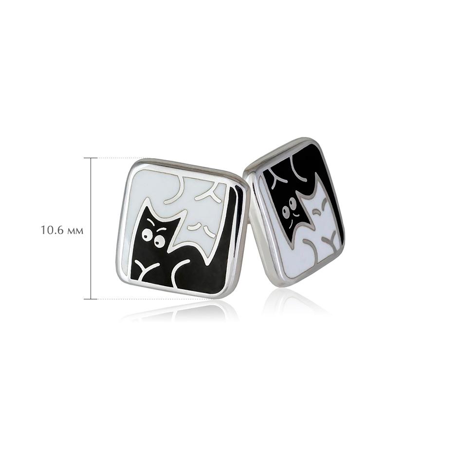 kotiki 7 - Пусеты из серебра «Котики Инь-Ян», черно-белые