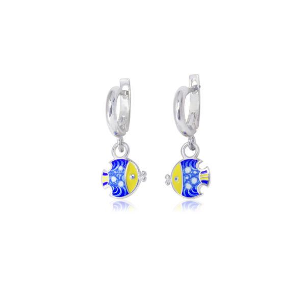 31 196c 1 600x600 - Серьги-подвески из серебра «Рыбки», синие