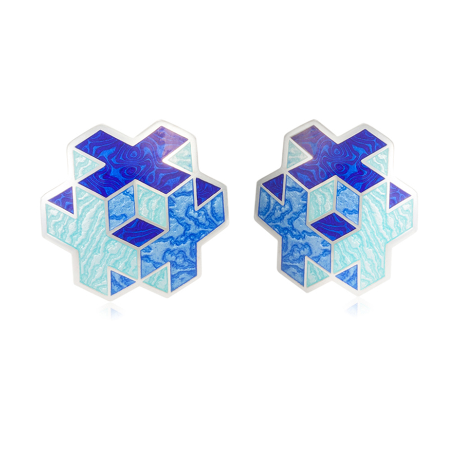 31 199 2s 1 1 - Пуссеты серебряные «Тетра», синие