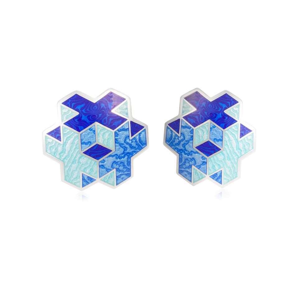 31 199 2s 1 - Пуссеты серебряные «Тетра», синие