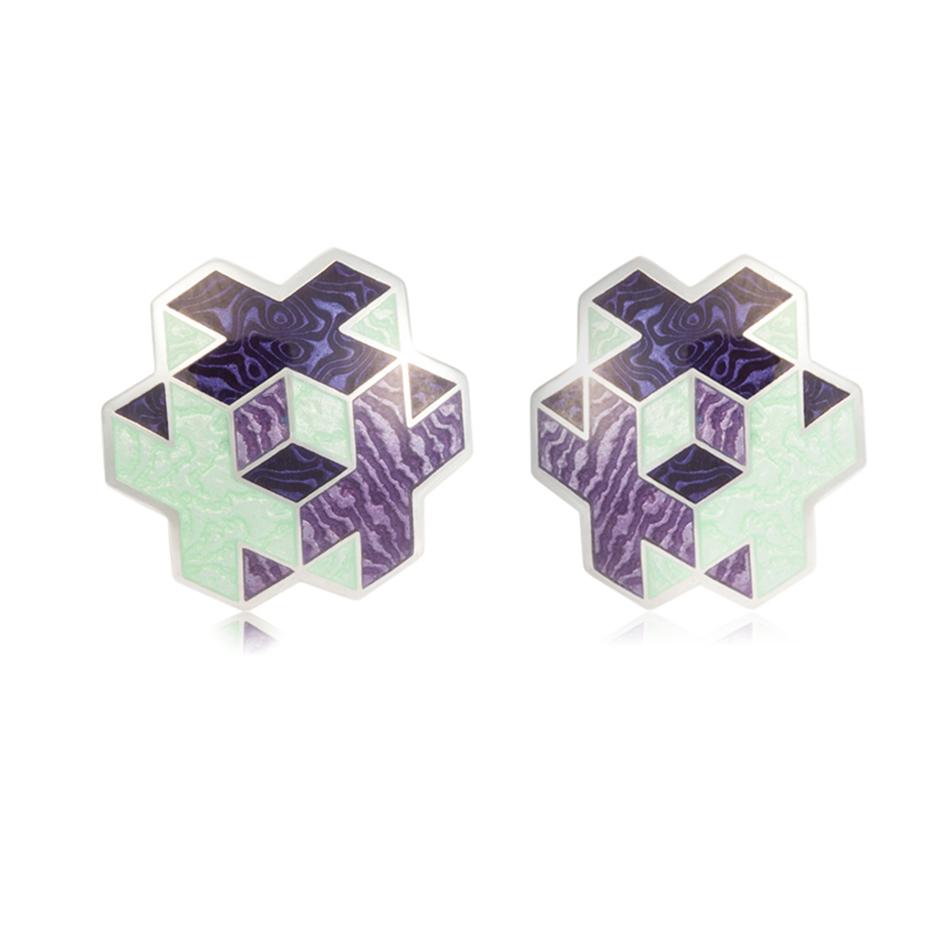 31 199 3s 1 1 - Пуссеты серебряные «Тетра», фиолетовые