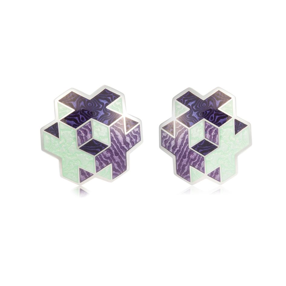 31 199 3s 1 - Пуссеты серебряные «Тетра», фиолетовые