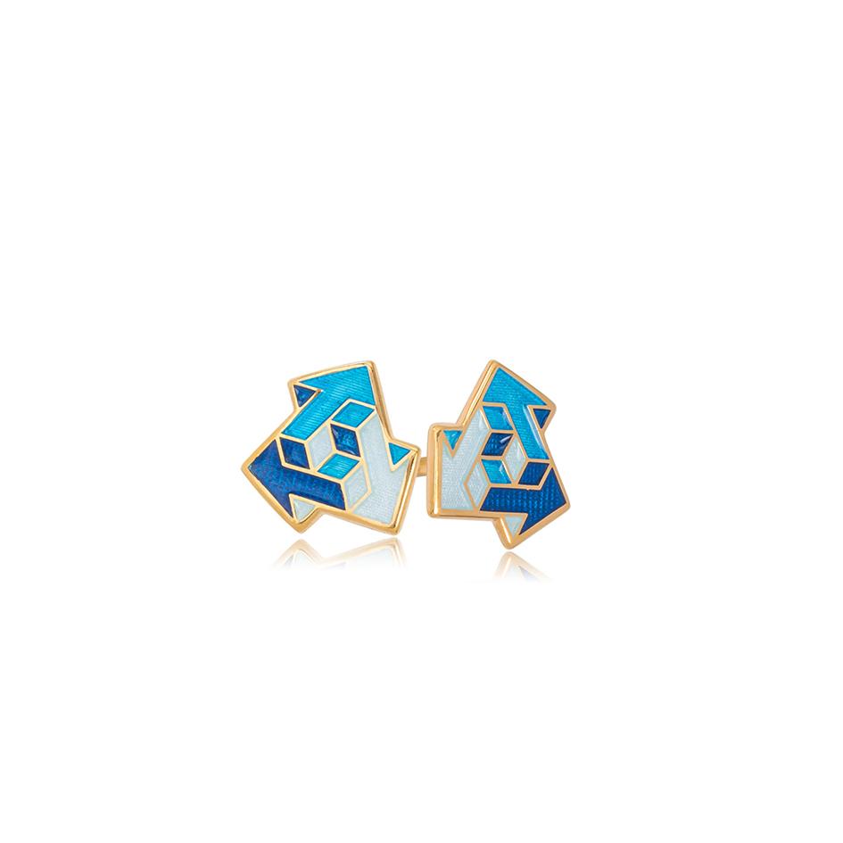 31 231 1 1 - Пуссеты из серебра «Виа» (золочение), синие