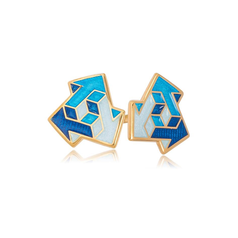 31 231 1 - Пуссеты из серебра «Виа» (золочение), синие