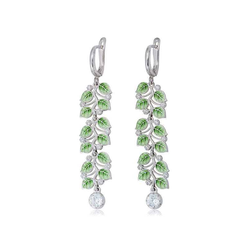 3 39 1 1s 1 - Длинные серьги-подвески из серебра «Мелисса», зеленые