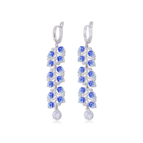 3 39 1 2s 1 600x600 - Длинные серьги-подвески серебряные «Мелисса», синие