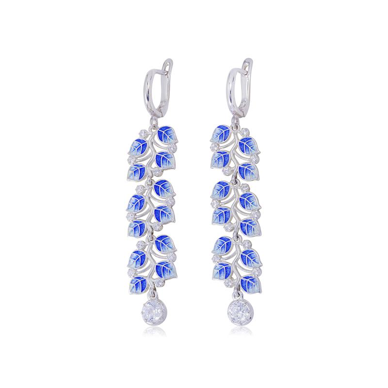 3 39 1 2s 1 - Длинные серьги-подвески серебряные «Мелисса», синие